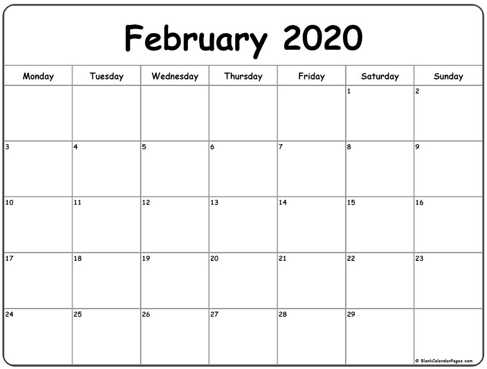 February 2020 Monday Calendar | Monday To Sunday In 2020 School Calendar Monday Thru Friday