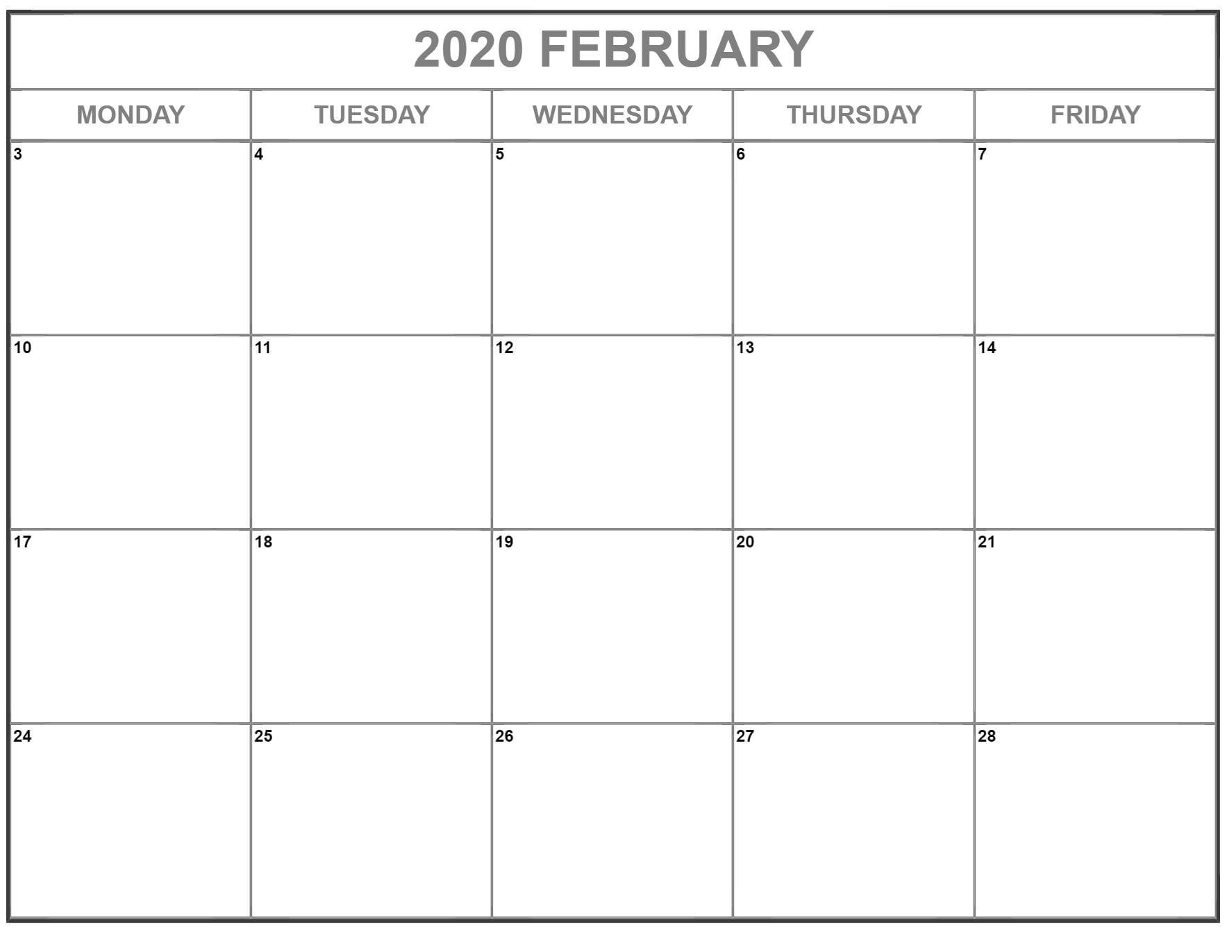 February 2020 Monday Calendar | Monday To Sunday Monday Through Friday Calendar