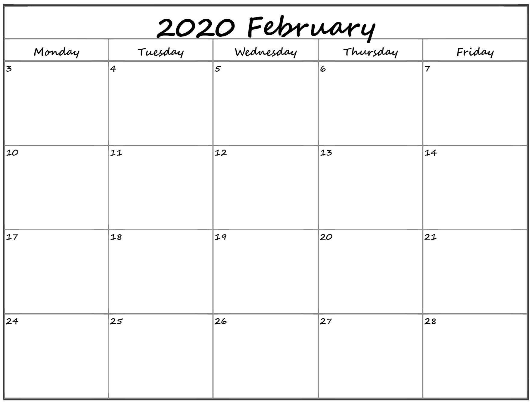 February 2020 Monday Calendar | Monday To Sunday Printable Monday Through Friday Monthly Calendar Free