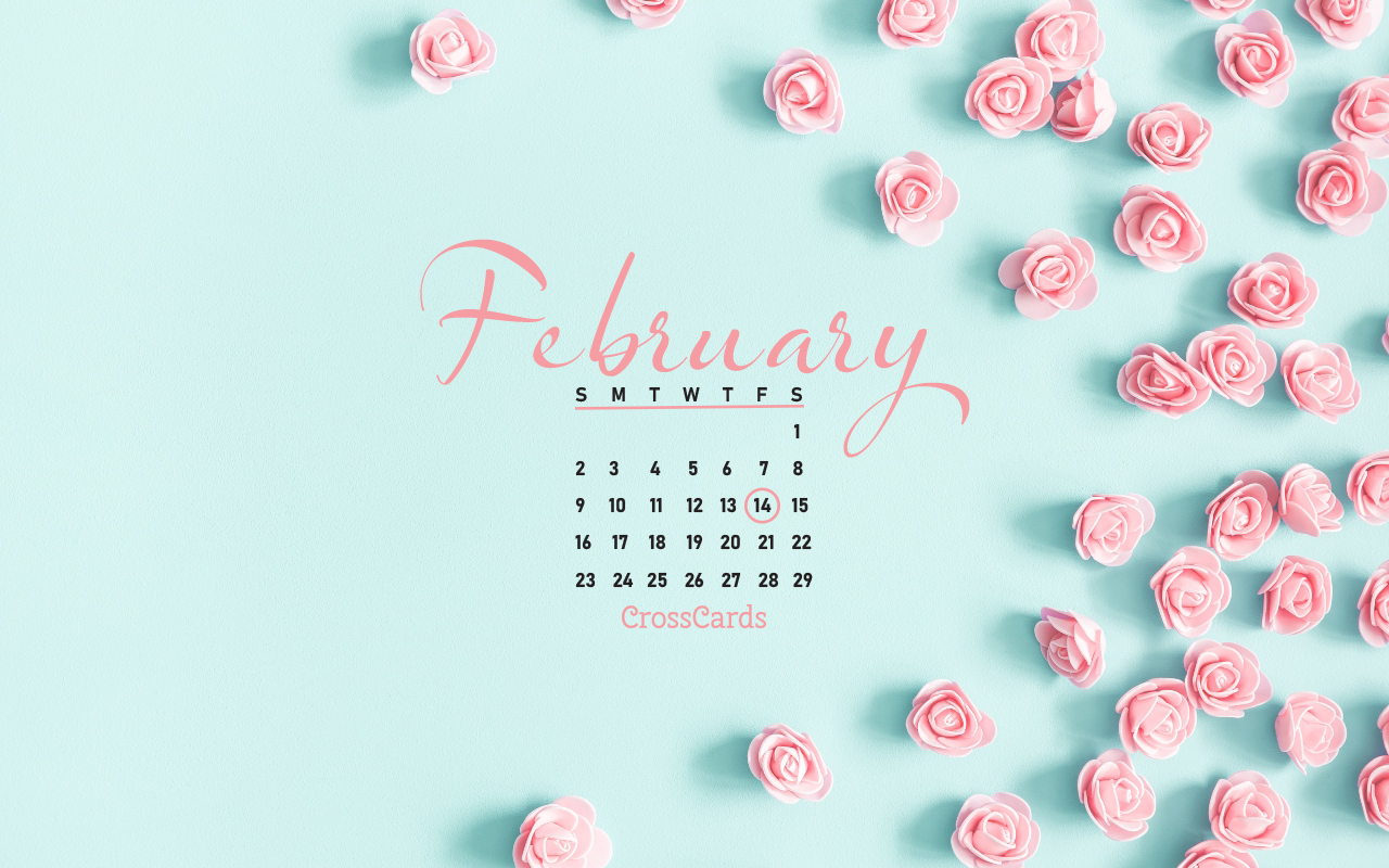February 2020 - Valentines Flowers Desktop Calendar- Free Download Crosscards Monthly Calendar For Computer Background