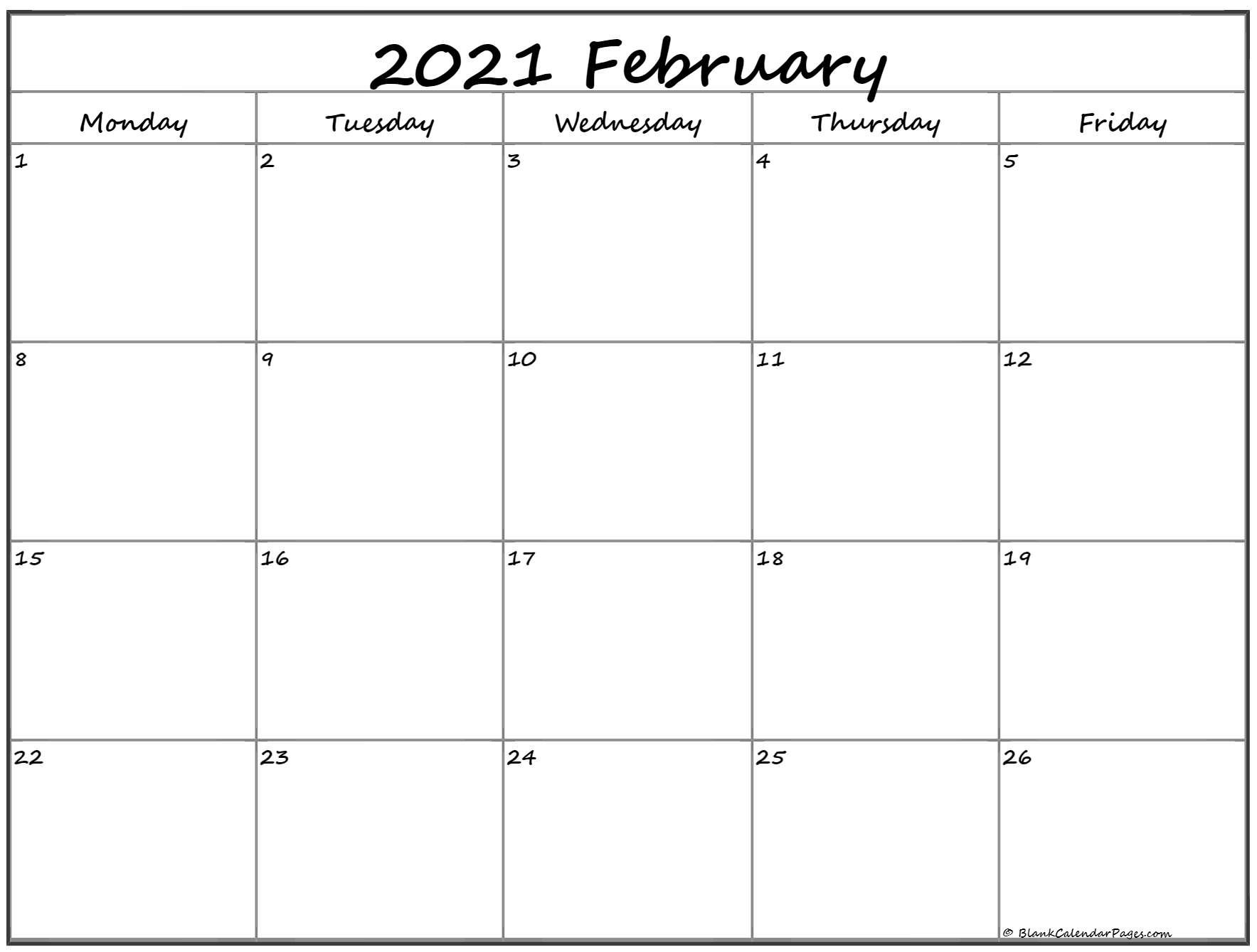 February 2021 Monday Calendar | Monday To Sunday June Calendar Monday Thru Sunday