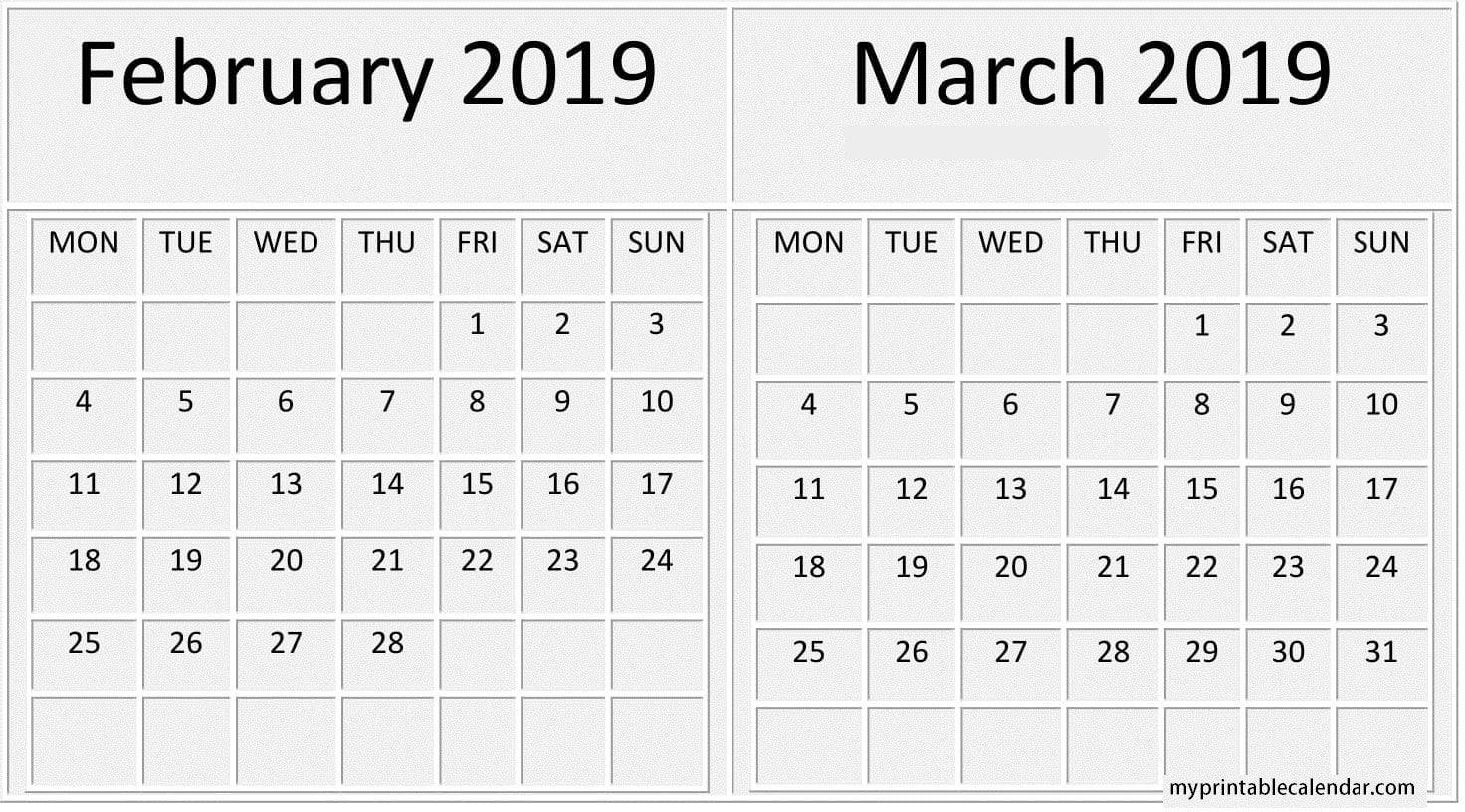 February March 2019 Calendar With Week Number | Calendar 2 Week Calendar March