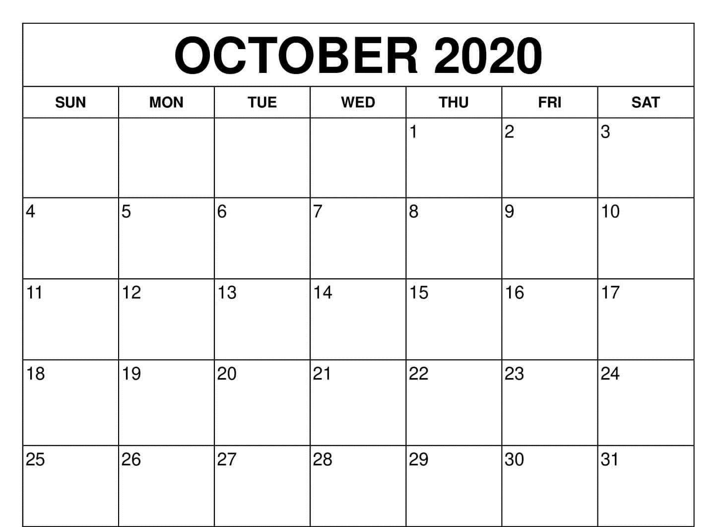 Fillable Calendar For October 2020 Printable Editable Fillable Blank Calendar Template