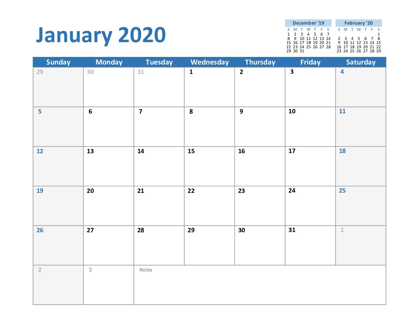 Fillable January 2020 Calendar | Calendar Template Printable Fillable Blank Calendar Template