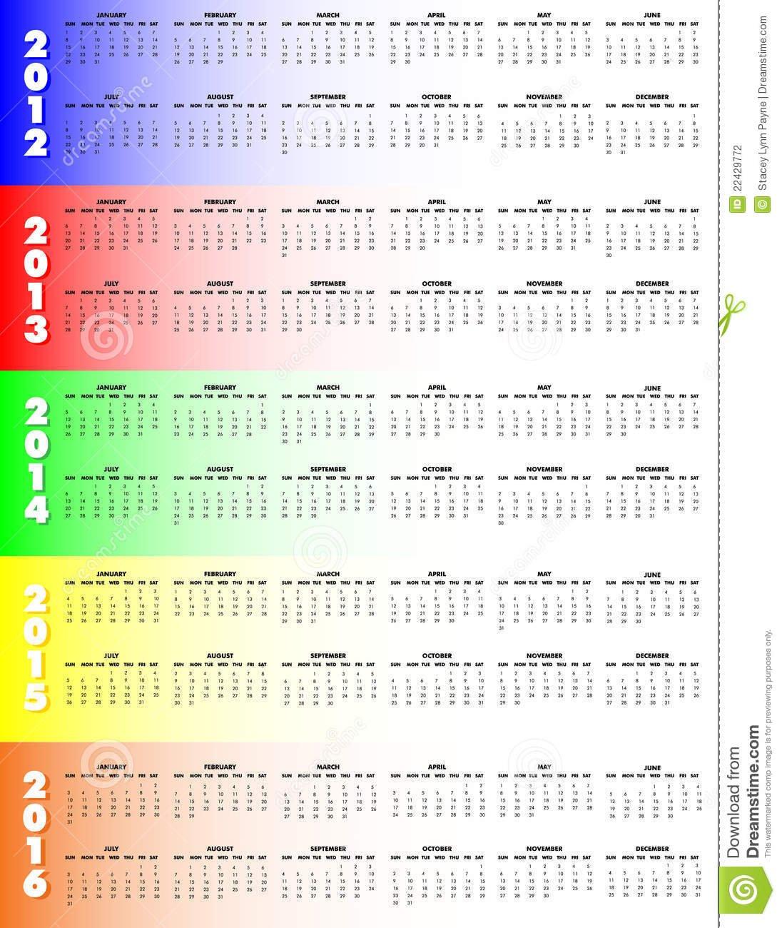 Five-Year Calendar 2012-2016 - Sunday Start Stock 5 Year Calendar Template