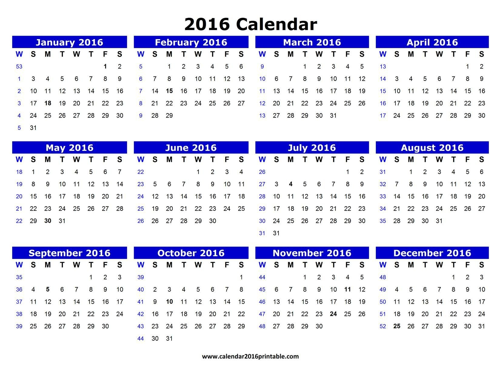 Free 2016 Calendar Pdf That You Can Download, Customize Printable Calenders You Can Edit