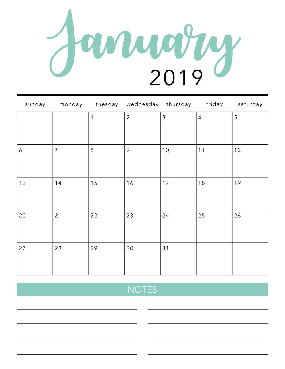Free 2019 Printable Calendar Template (2 Colors!) - I Print Free Calendars Without Downloading 2018