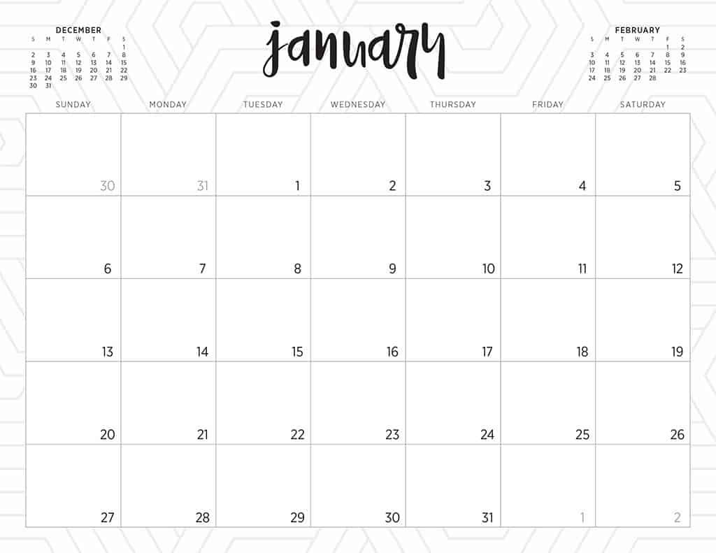 Free 2019 Printable Calendars - 46 Designs To Choose From! Print Free Calendars Without Downloading 2018