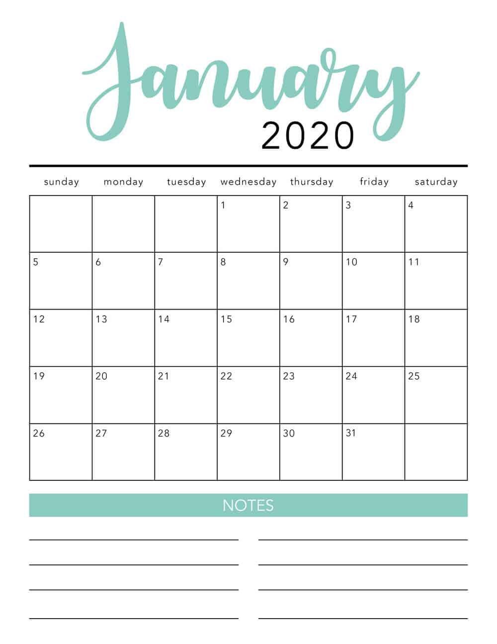 Free 2020 Printable Calendar Template (2 Colors!) - I 12 Month Editable Calendar