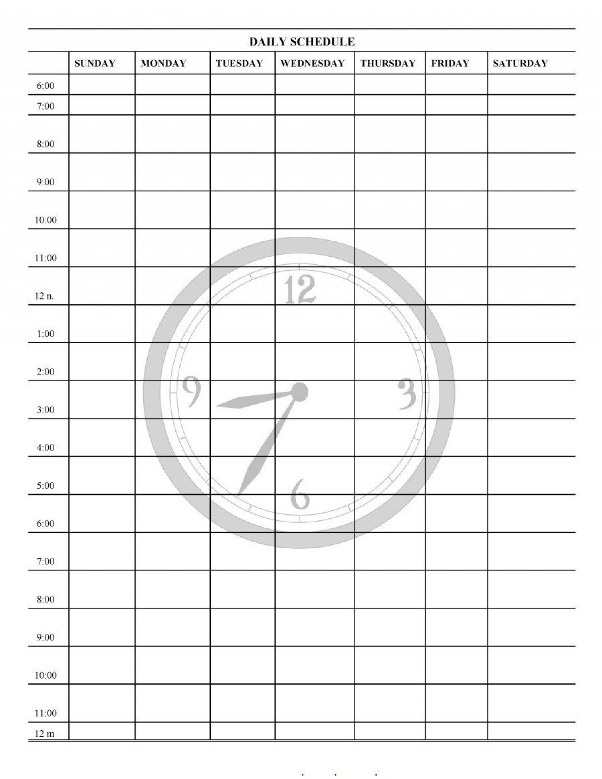 Free 24 Hour Daily Calendar Template | Daily Calendar Printable Day Calendar Hour