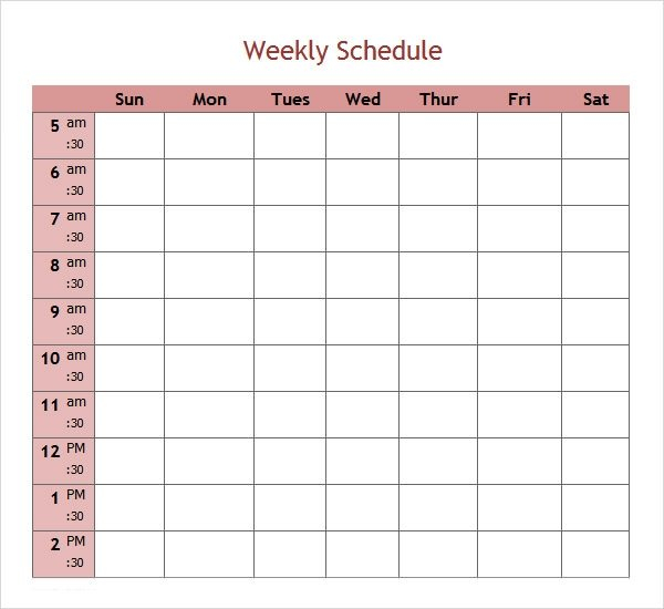 Free 7+ Weekend Scheduled Samples In Google Docs | Ms Word One Week Schedule Template Printable