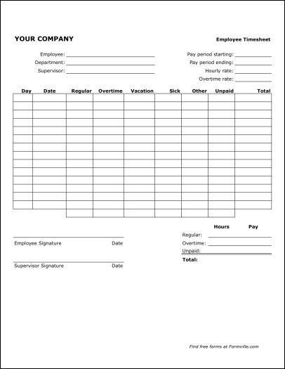 Free Bi-Weekly Timesheet (Portrait) From Formville 2 Week Time Sheet Printable