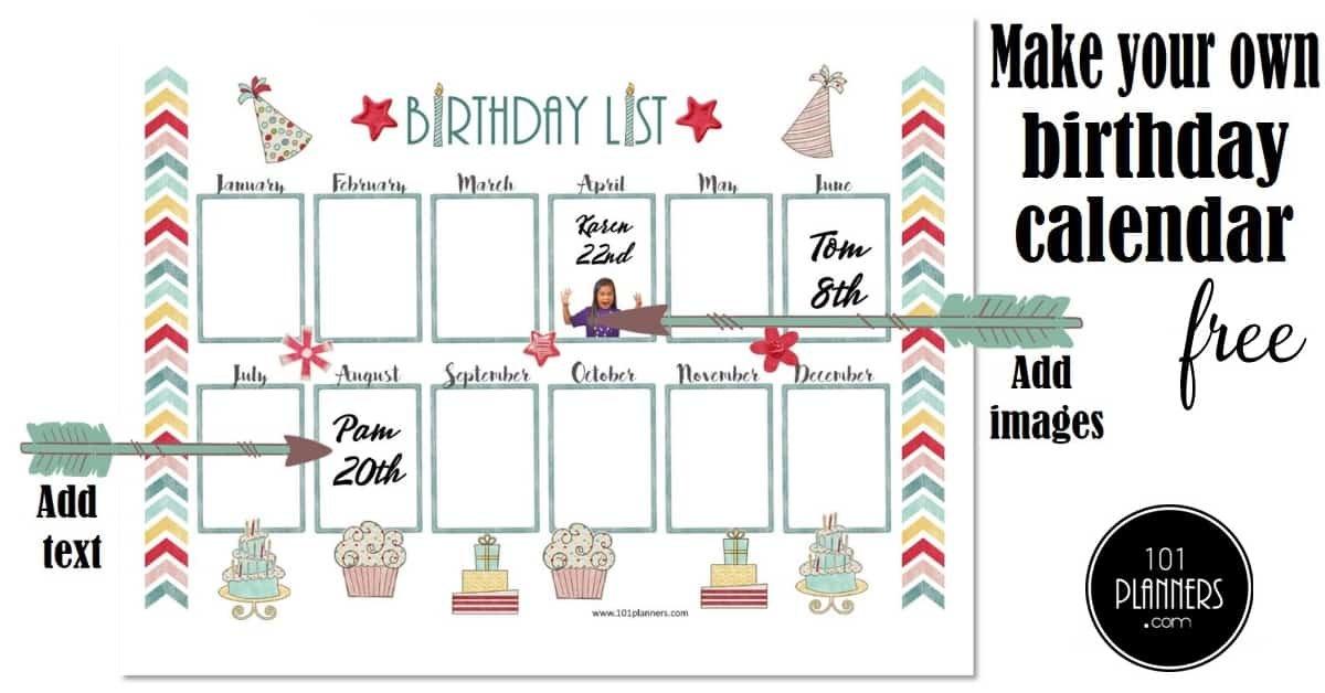 Free Birthday Calendar   Printable & Customizable   Many Editable Birthday Calendar Template Free