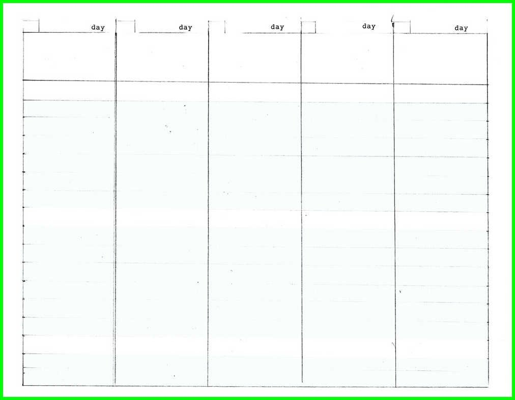 Free Blank Calendar Template 5 Day Week – Template Day To Day Calendar Template