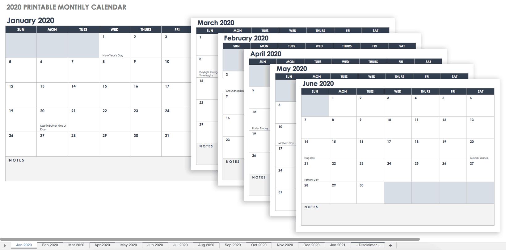 Free Blank Calendar Templates - Smartsheet Holiday Time Off Calendar Excel