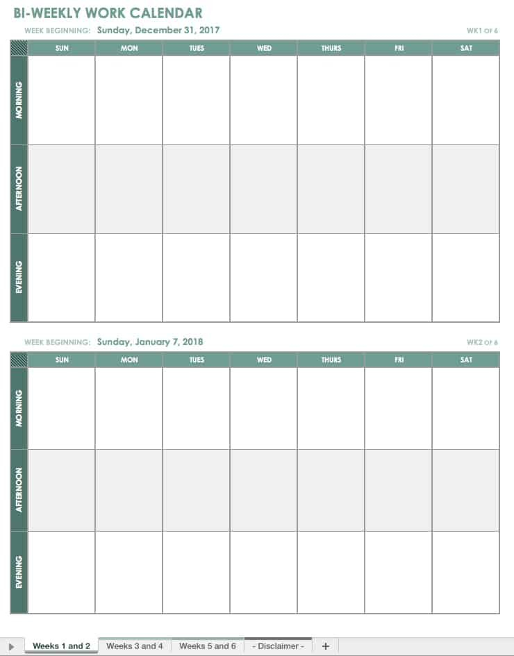 Free Blank Calendar Templates - Smartsheet Printable 2 Week Calendar Templates Starting On Saturday