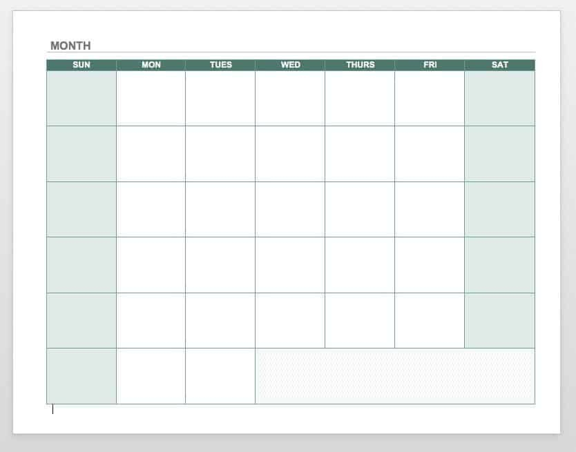 Free Blank Calendar Templates - Smartsheet Simple Weekly X5 Calendar Template