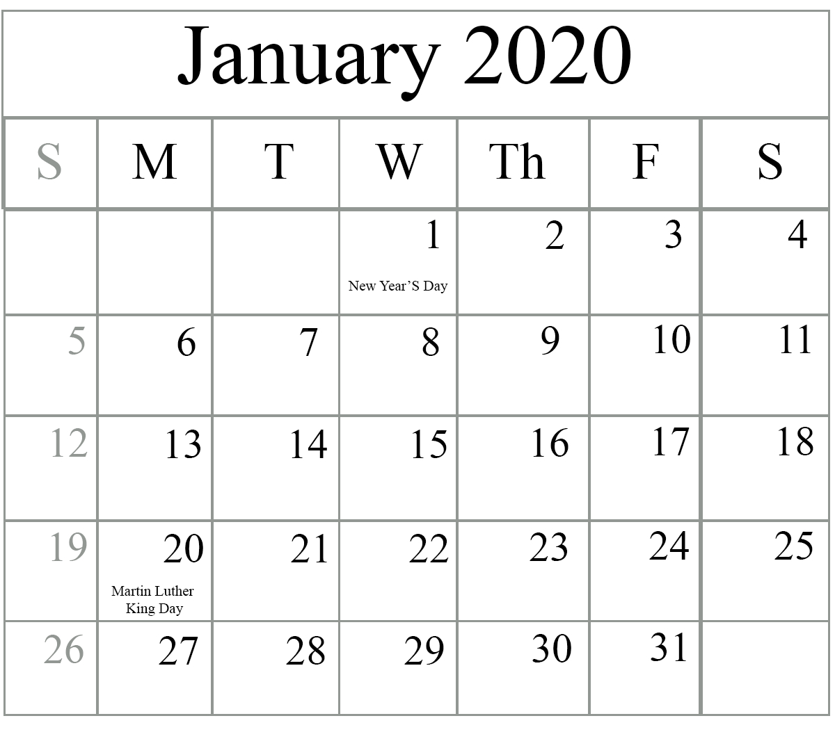 Free Blank January 2020 Calendar Printable In Pdf, Word, Excel Monthly Calender I Can Edit On