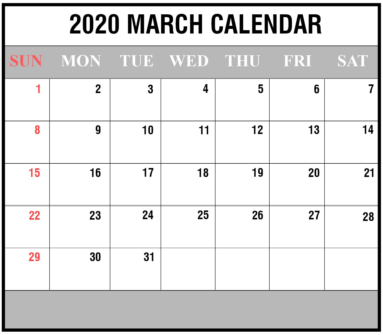 Free Blank March 2020 Printable Calendar In Pdf Excel Free Blank Printable Monthly Calendar Pdf