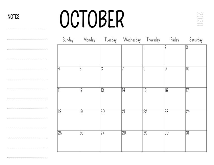 Free Blank October 2020 Calendar Printable In Pdf, Word, Excel Fill In June Calendar