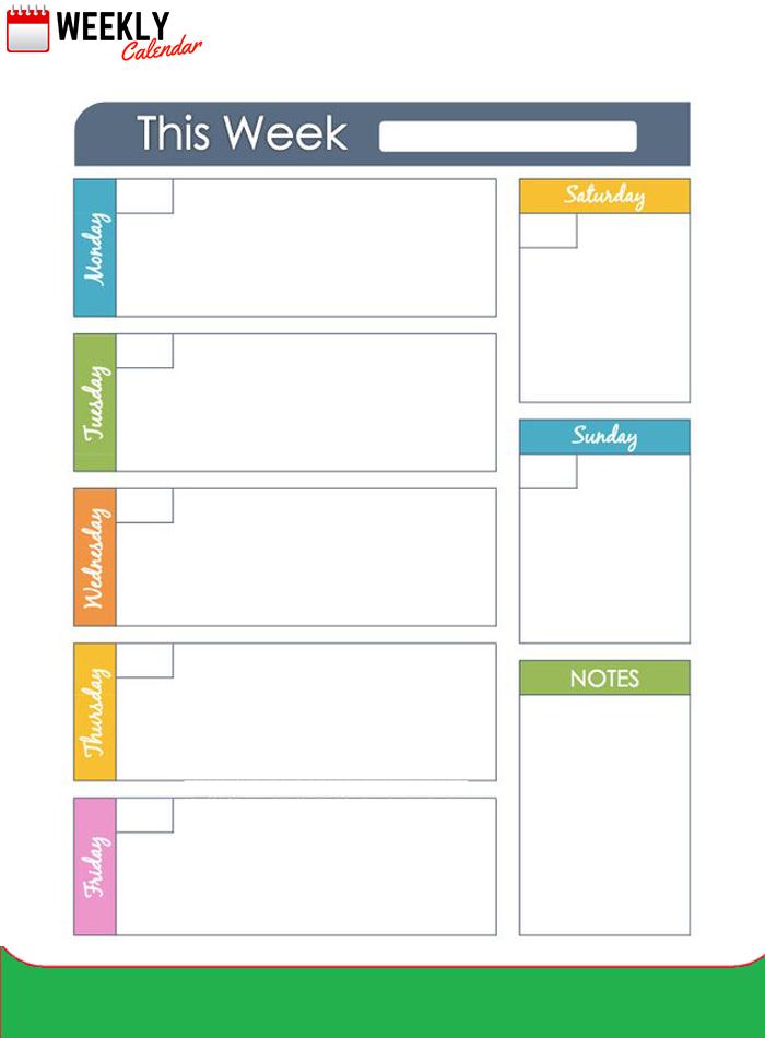 Free Blank Printable Weekly Calendar 2019 Template In Pdf Sunday Through Saturday Calendar