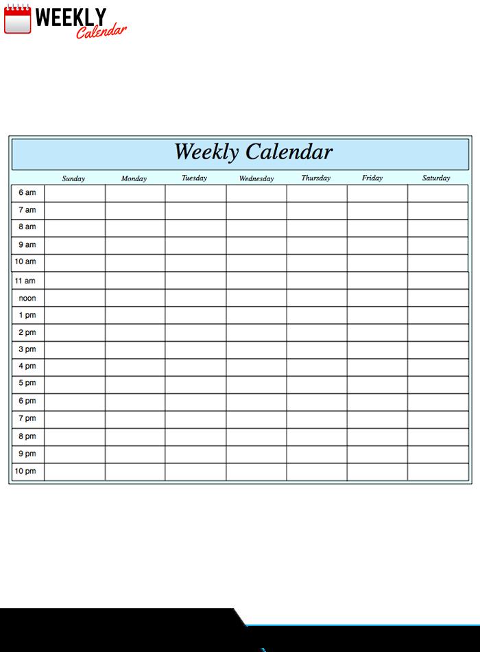 Free Blank Printable Weekly Calendar 2019 Template In Pdf Weekly Calendar Printable With Time Slots