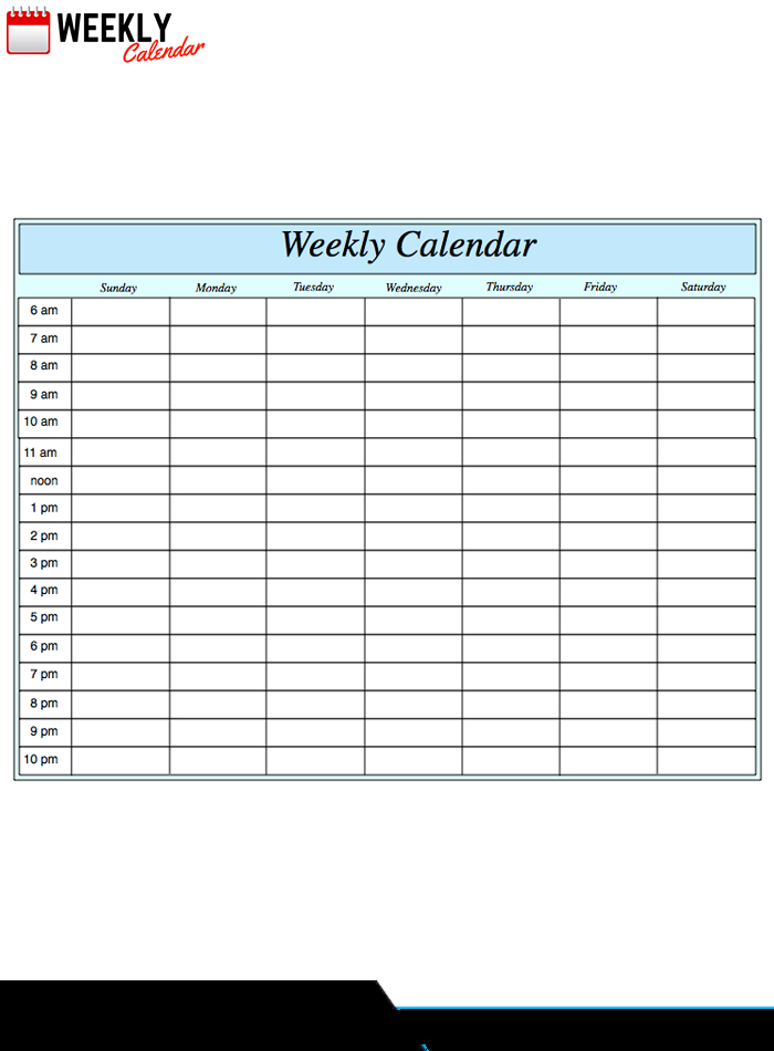 Free Blank Printable Weekly Calendar 2019 Template In Pdf Weekly Time Slots With Schedule