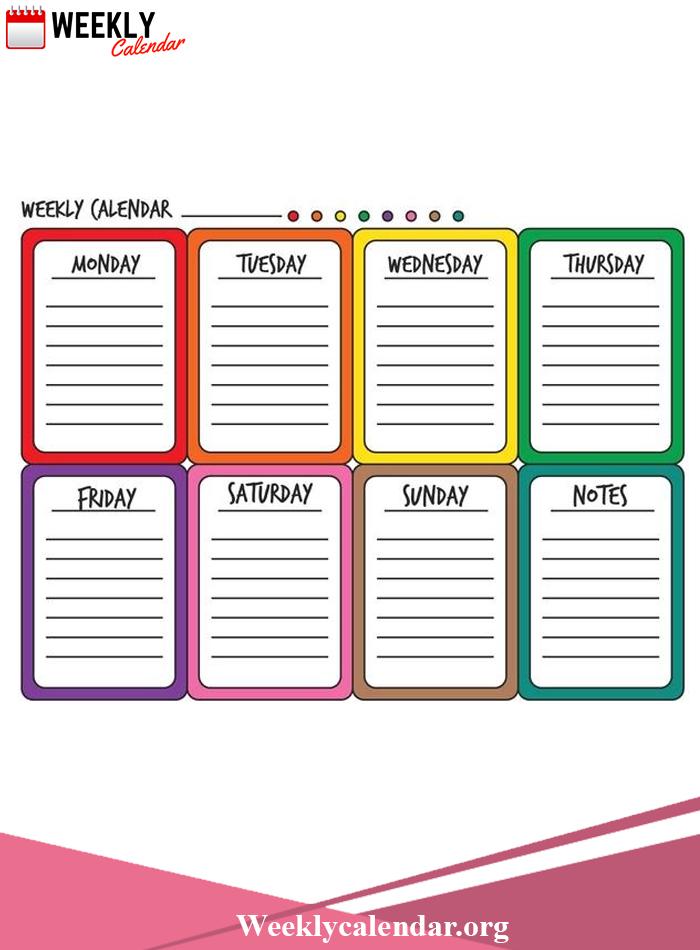 Free Blank Printable Weekly Calendar 2021 Template In Pdf Calendar Two Week Printable