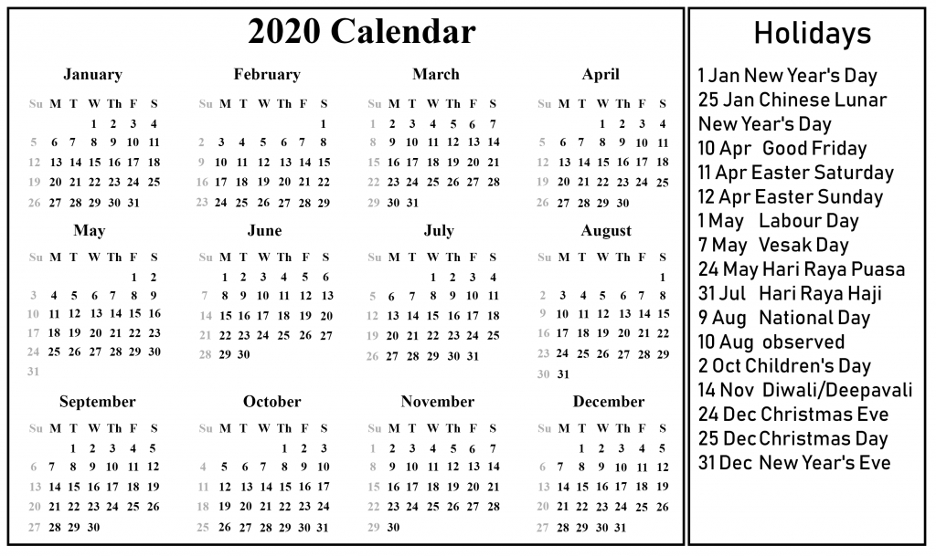 Free Blank Singapore Calendar 2020 [Pdf, Excel & Word To Do List Mon To Friday 15-19 June