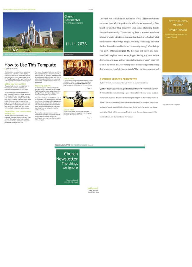 Free Church Newsletter Templates - Editable In Microsoft® Word Free Printable Of Churches