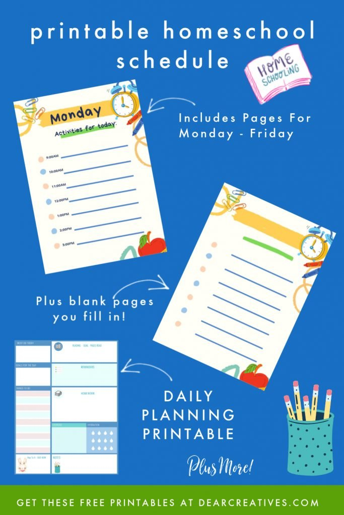 Free Daily Planner Printables For Back To School - Dear Free Monday Thru Friday Weekly Calendar With Time Slotsprintable