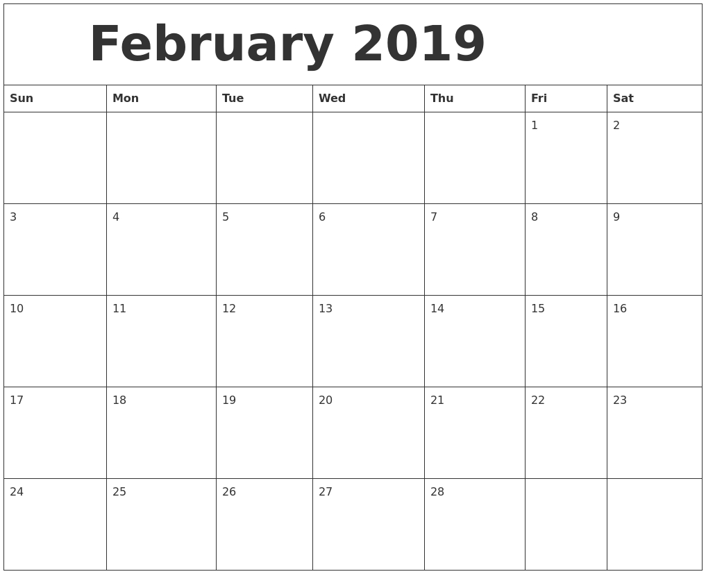 Free Download February Calendar For 2019 Available In Simple Weekly X5 Calendar Template