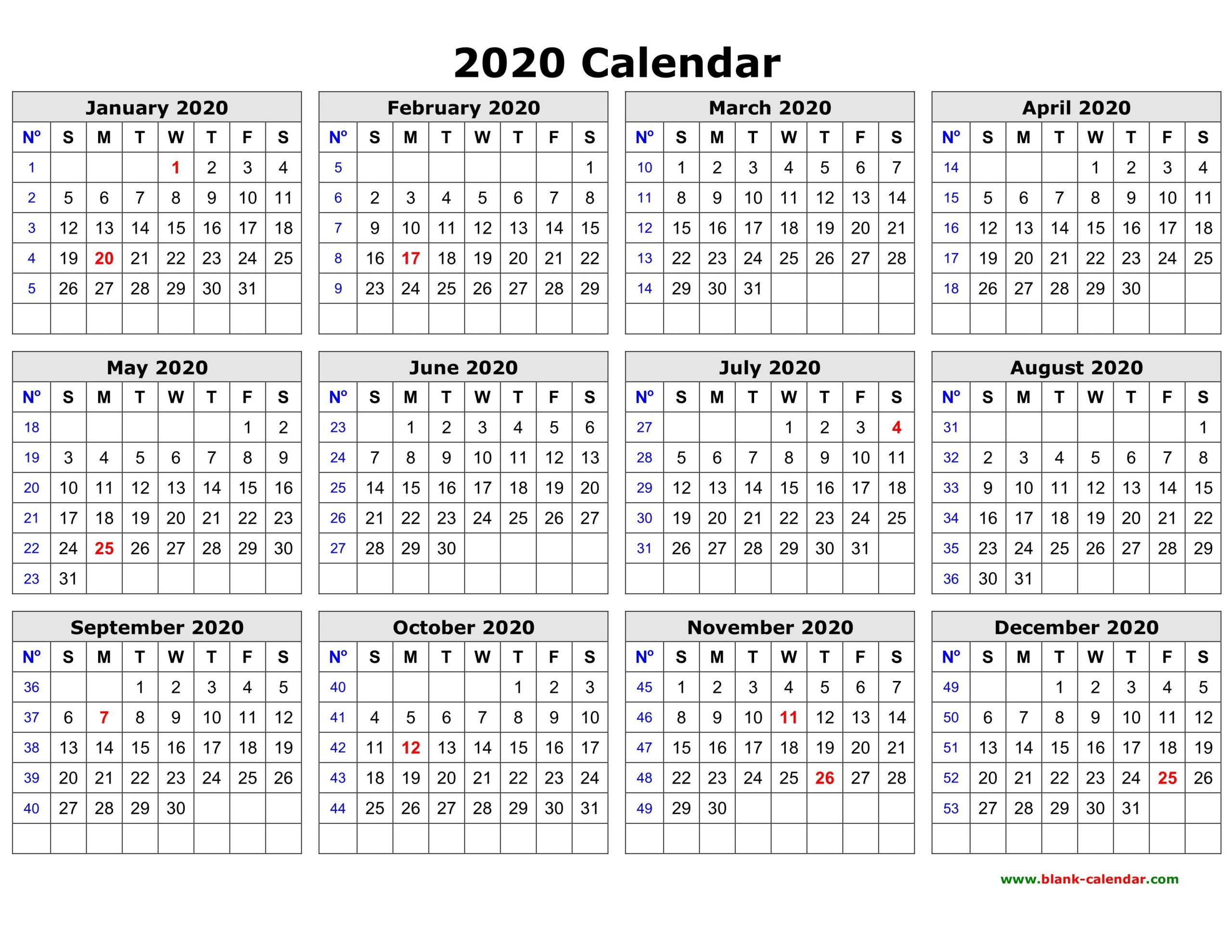 Free Download Printable Calendar 2020 In One Page, Clean Free 2020 Calendar With Days Counted 1-365