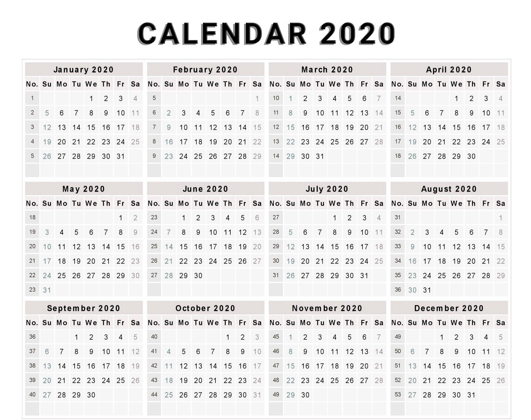 Free Editable 2020 Calendar Printable Template | Calendar Sap 52 Week Numbered Calendar