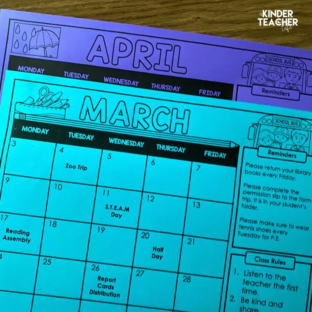 Free Editable Monthly Class Calendars In 2020 | School Free School Calendars For Teachers