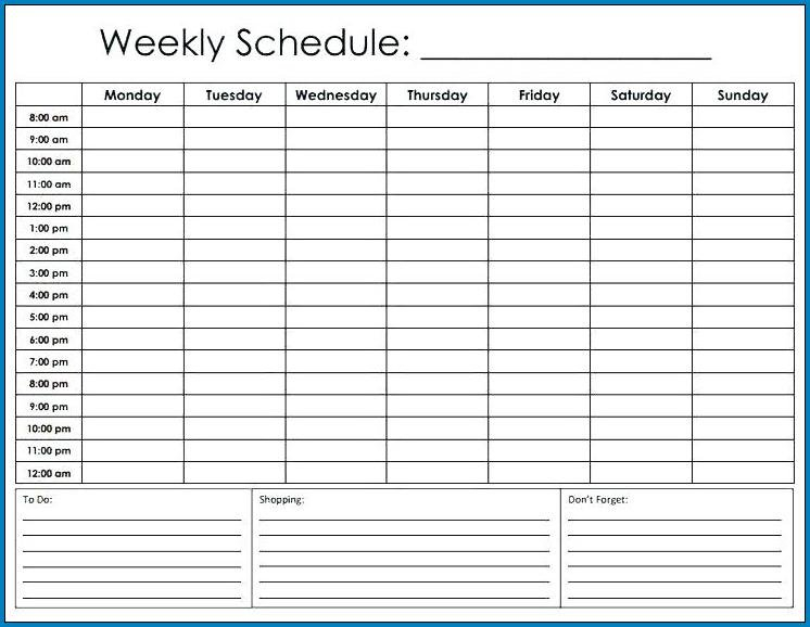 Free Editable Schedule Template Hourly | Templateral Printable Hourly Schedule Free