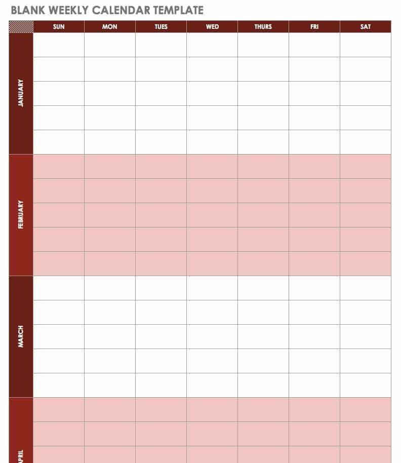 Free Excel Calendar Templates 4 Week Blank Calender Template