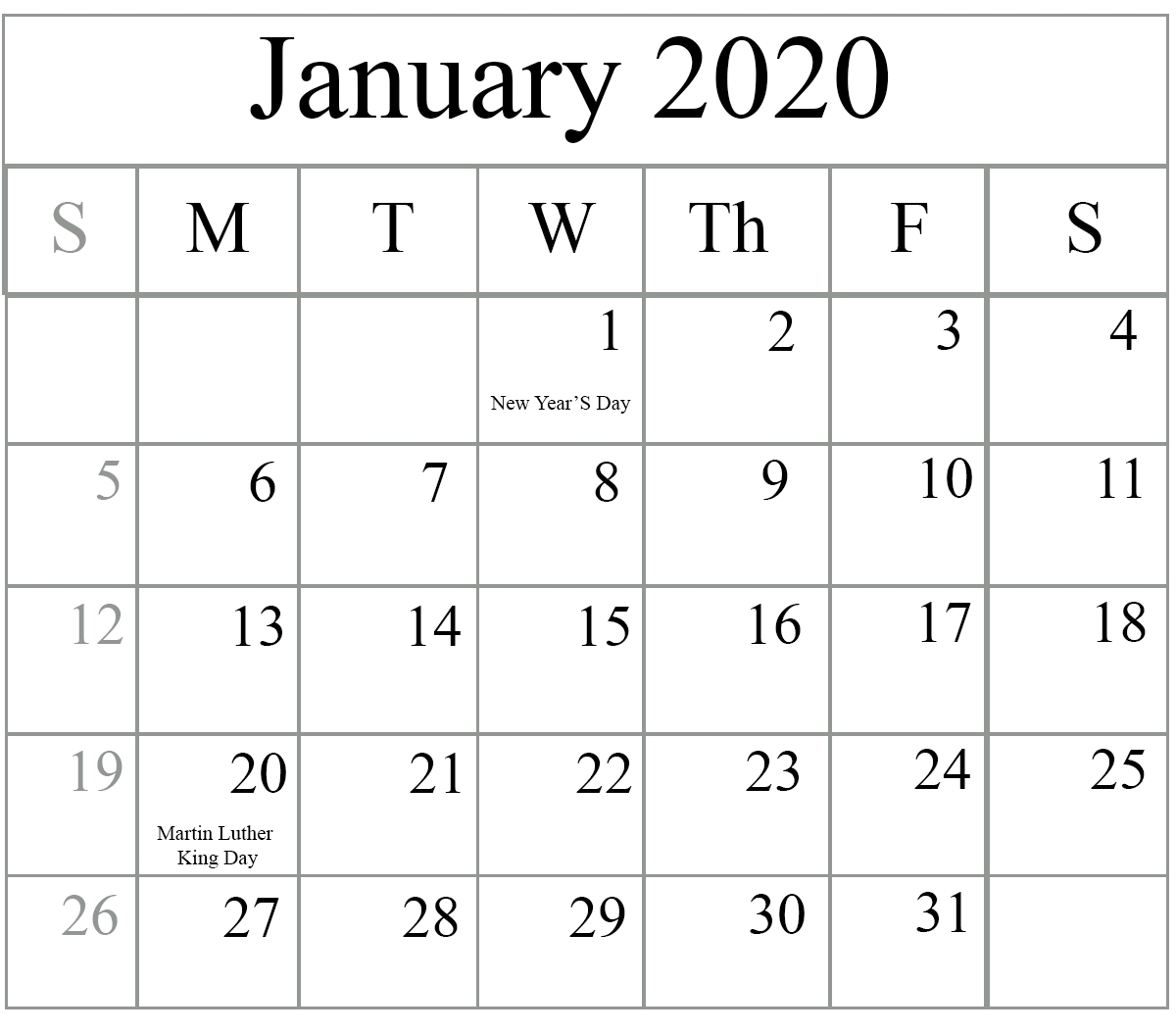 Free Fillable 2020 Calendar Template | Calendar Template Fillable Blank Calendar Template