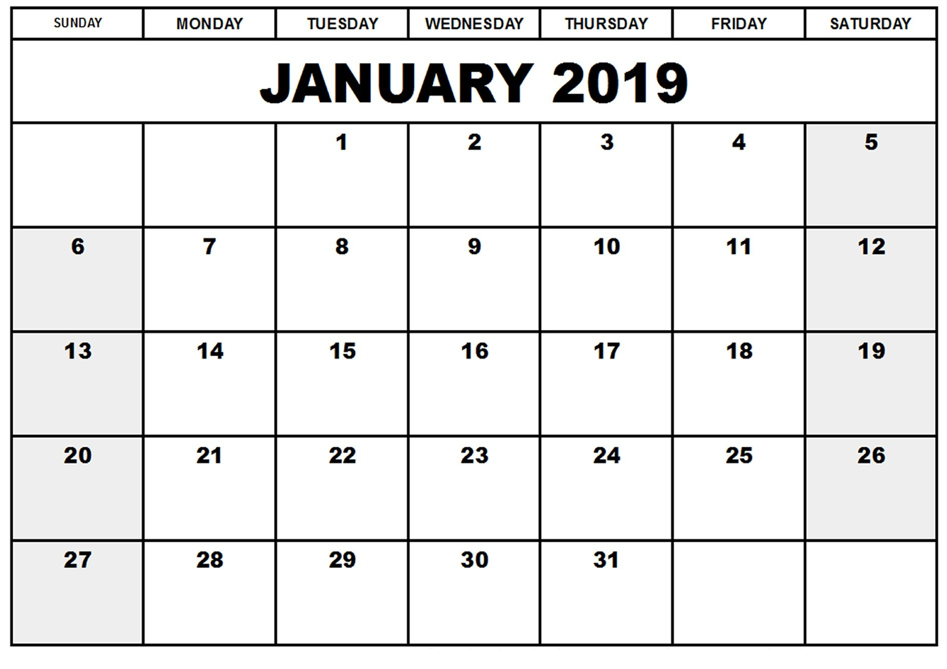 Free January 2019 Printable Calendar Templates - Calendar Blank Calendar That I Can Edit