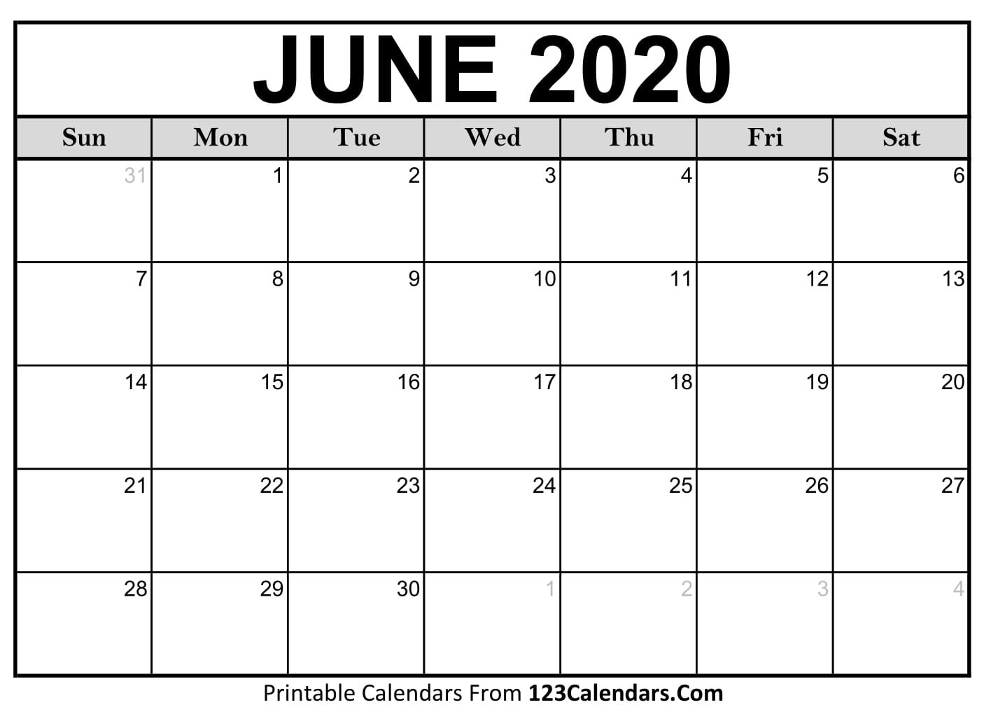 Free June 2020 Calendar | 123Calendars Printable Rip Off Day Calendar