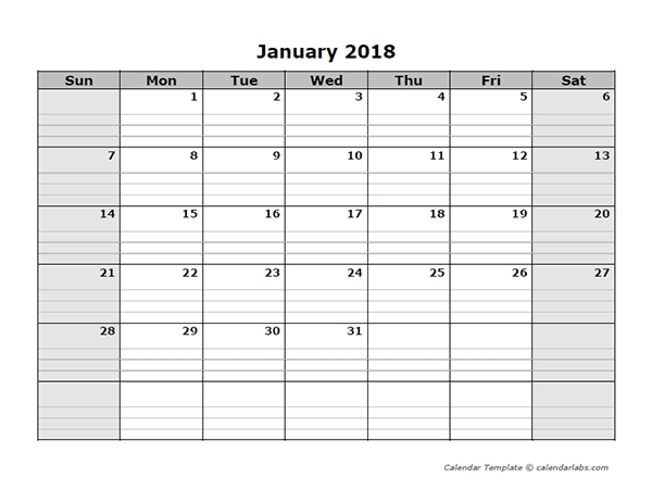 Free Lined Monthly Printable Calendar Template :-Free Blank Lined Monthly Calendar Template
