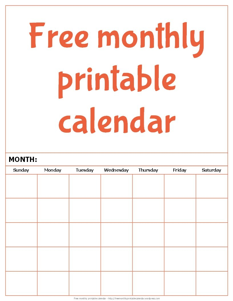 Free Monthly Printable Calendar | Free Monthly Printable Calendars To Fill In And Print For Free