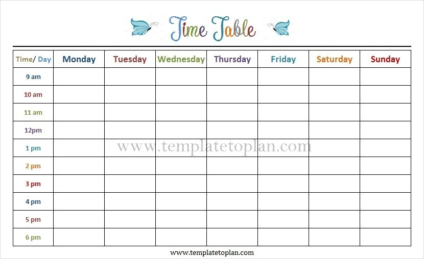Free Online Timetable Template Monday To Friday | Blank Monday To Friday Tempate Printable