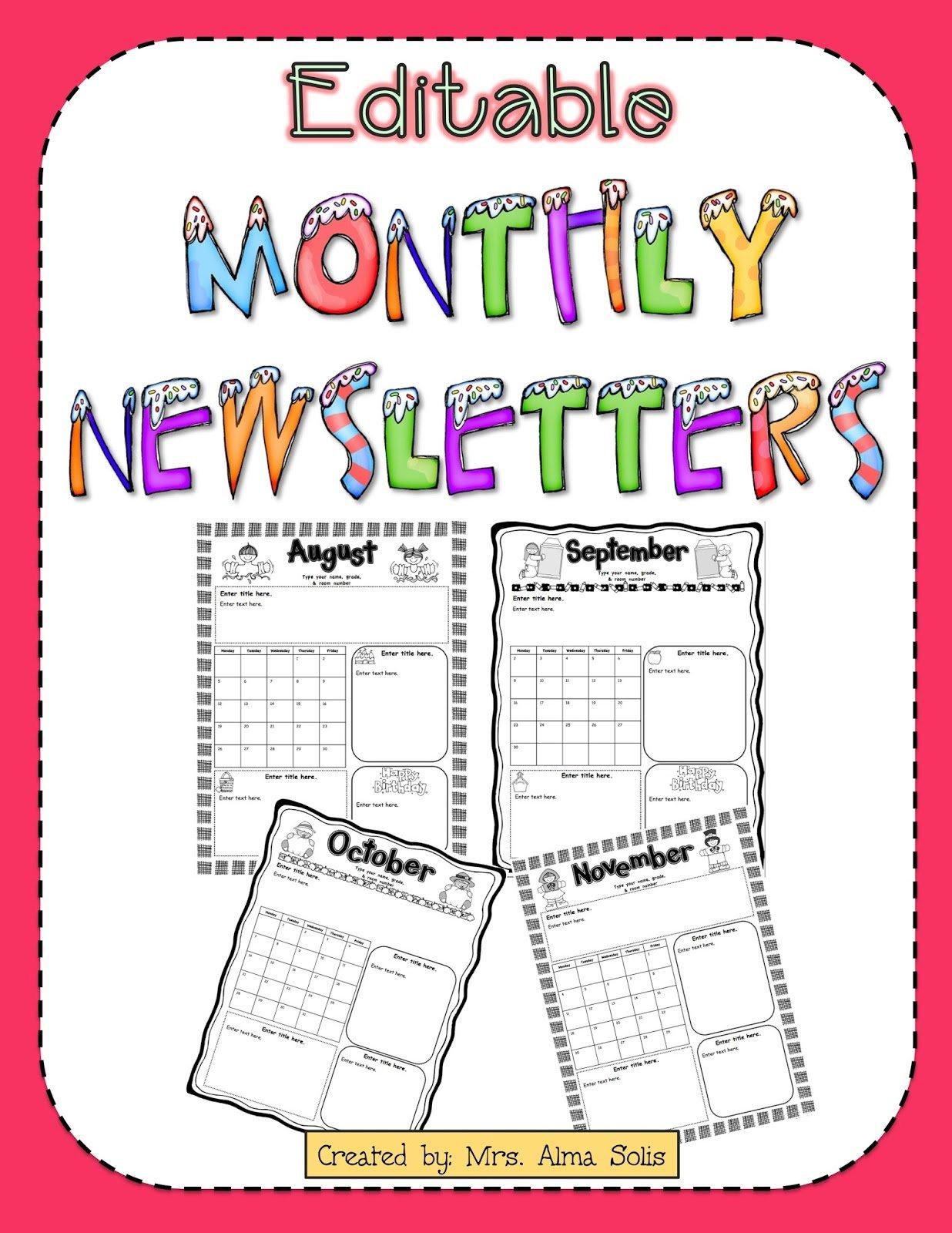 Free Preschool Newsletter Templates Free School Calendars For Teachers