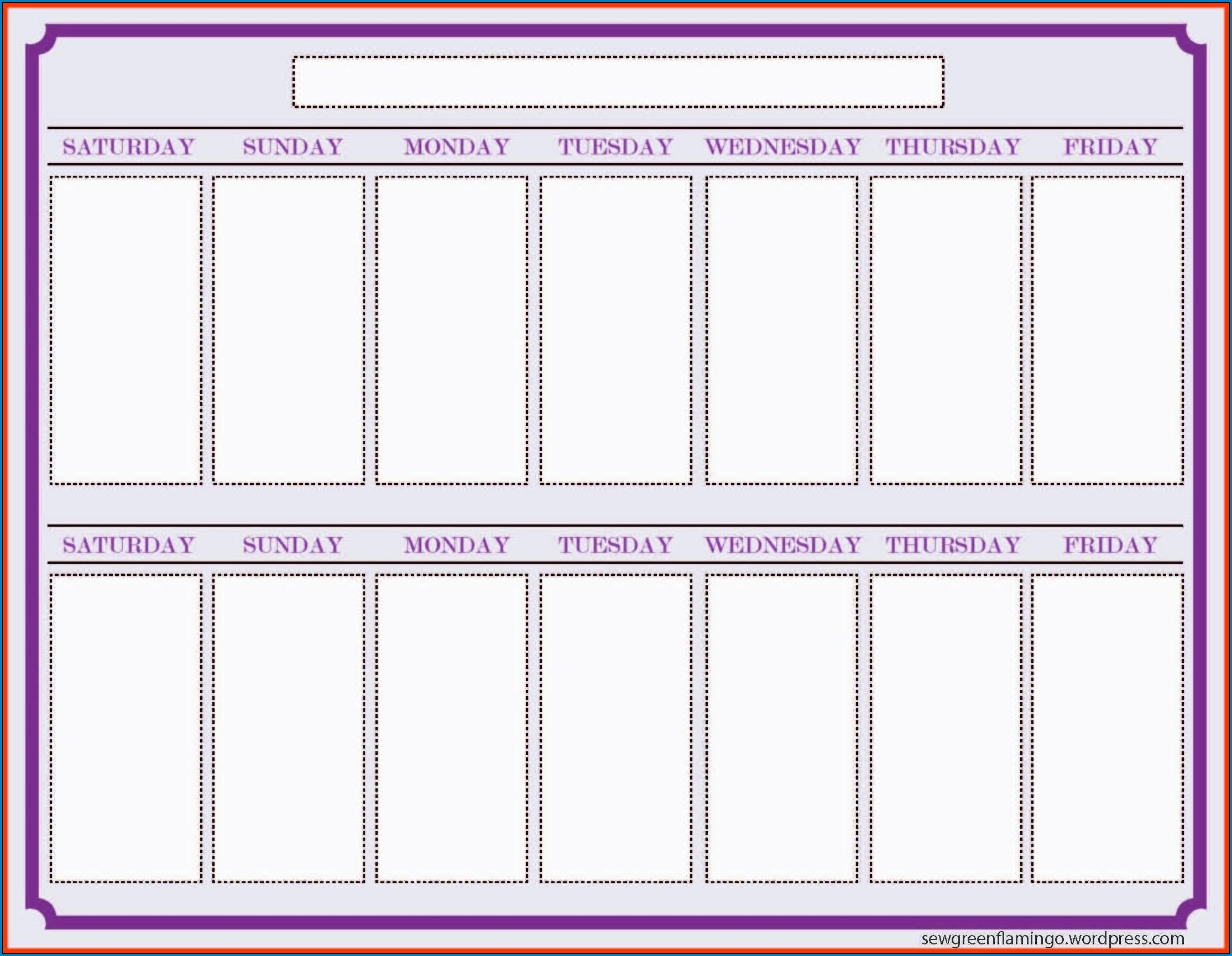 Free Printable 2 Week Calendar Template | Templateral Free Two Week Planning Calendaar