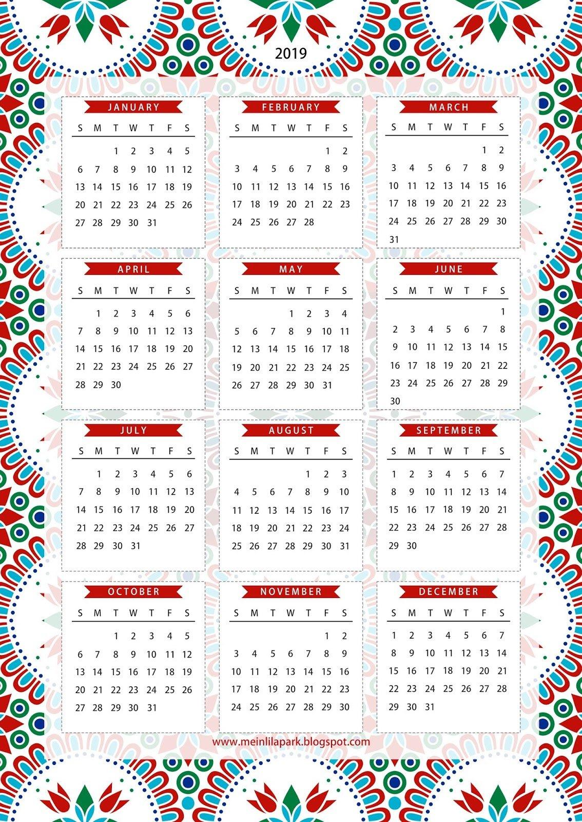 Free Printable 2019 One Page Calendar - Kalender - Freebie Free Blank Calendar Page