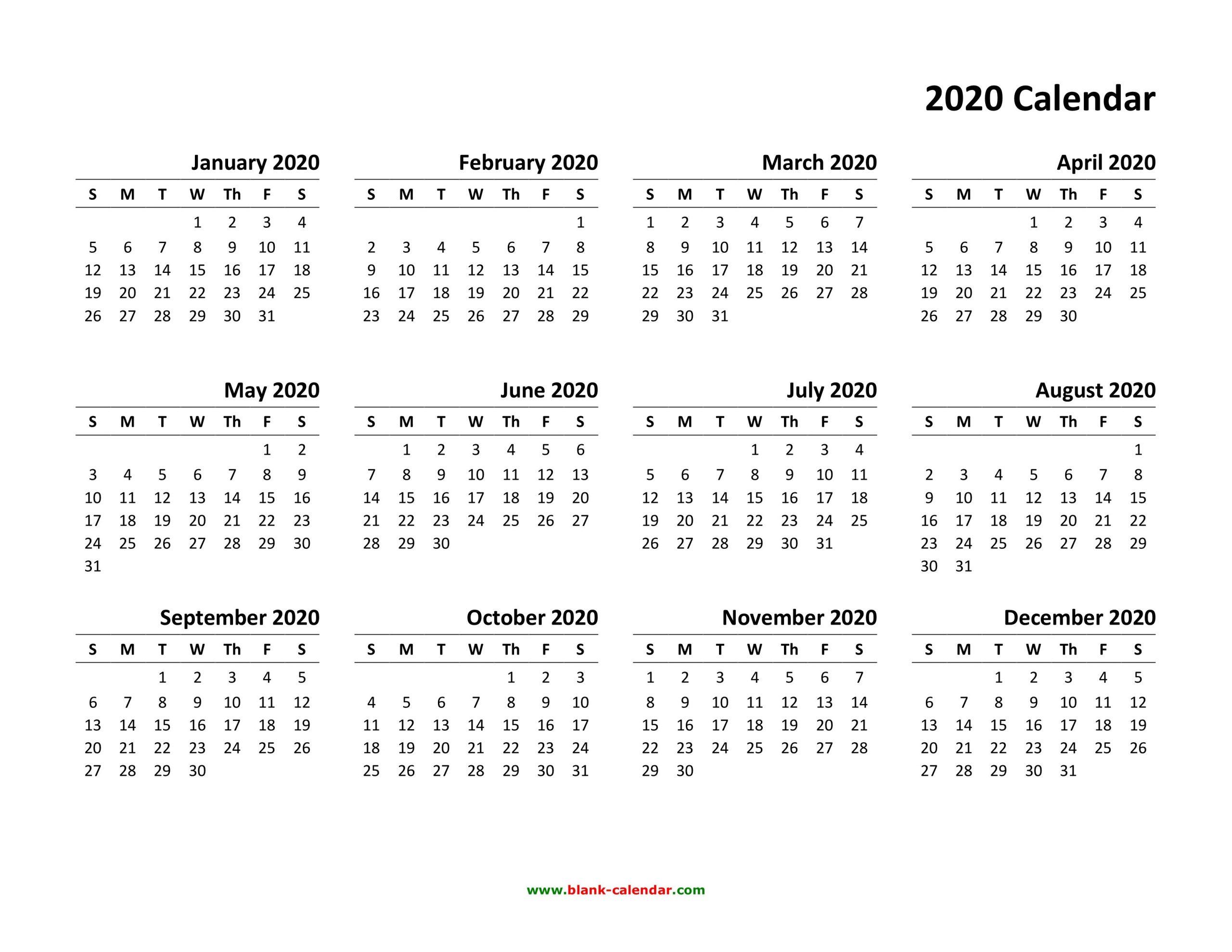 Free Printable 2020 Calendar To I Can Edit | Calendar Free Calendar I Can Edit