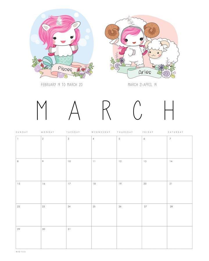 Free Printable 2020 Zodiac Sign Kawaii Unicorn Calendar Free 2020 Calendar With Days Counted 1-365