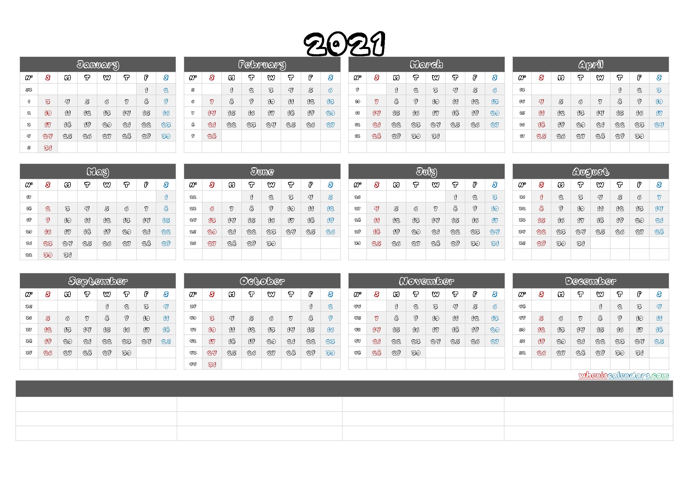 Free Printable 2021 Yearly Calendar With Week Numbers Sap 52 Week Numbered Calendar