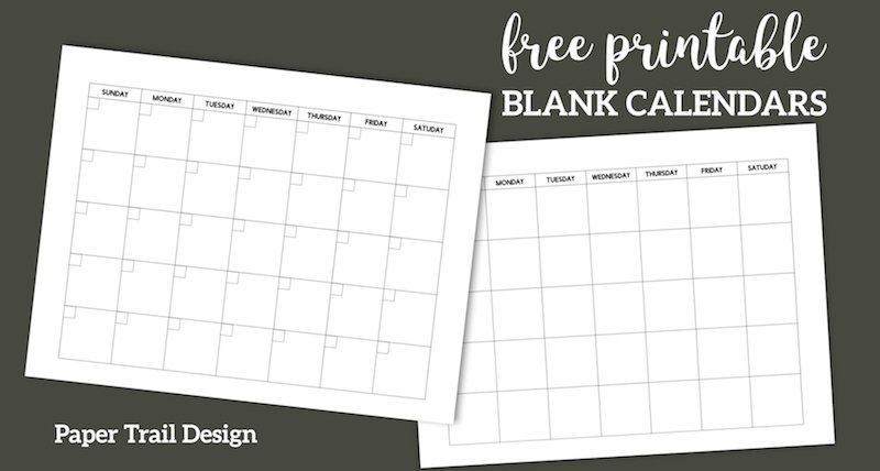 Free Printable Blank Calendar Template | Paper Trail Design Free Blank Calendar For One Week Printable